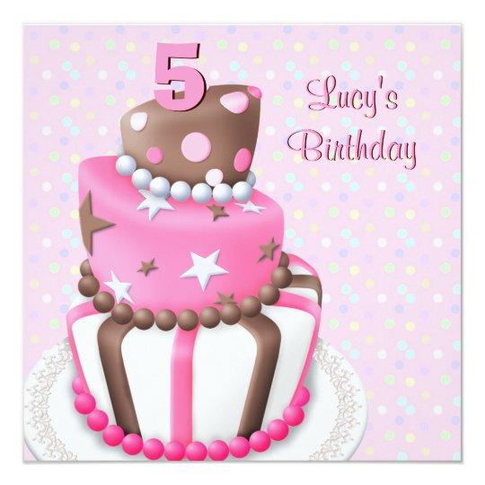 Pink Brown Cake Girls 5th Birthday Party Invitation