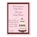 Pink Brown Cake Invitation