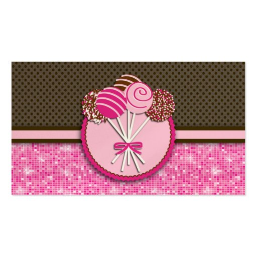 Pink & Brown Cake Pops : Business Cards