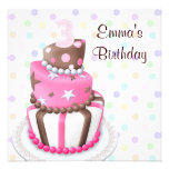 Pink Brown Cake Presents Girls 3rd Birthday Party Custom Invites