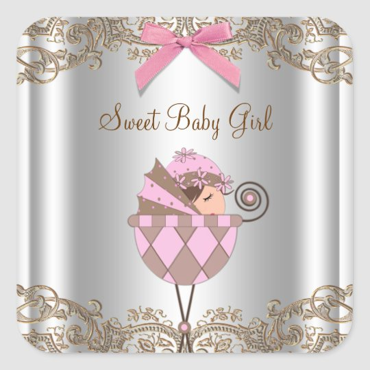 Pink Brown Carriage Baby Shower Label