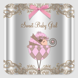 Pink Brown Carriage Baby Shower Label Square Sticker