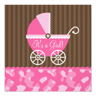 Pink Brown Carriage Camo Girl Baby Shower Card
