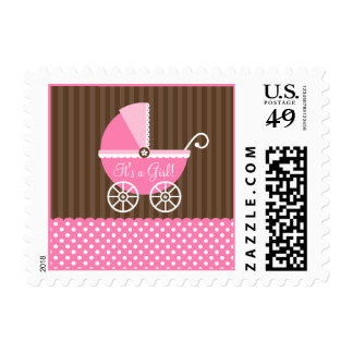 Pink Brown Carriage Dots It's a Girl Baby Shower Postage Stamps