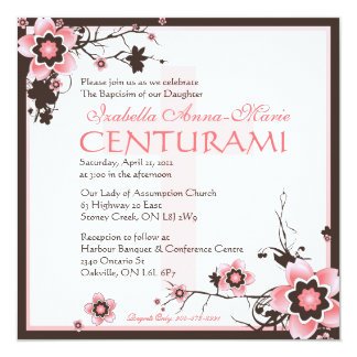 Pink & Brown Cherry Blossom Baptisim Invitation