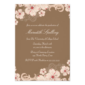 Pink + brown cherry blossom chic graduation party card