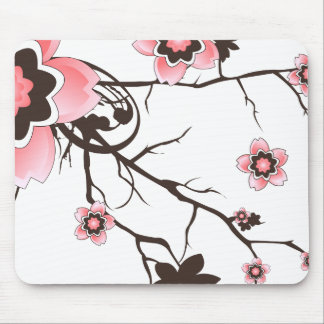 Pink & Brown Cherry Blossom Flower Mousepad