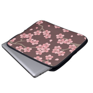 Pink Brown Cherry Blossom Laptop Computer Sleeves