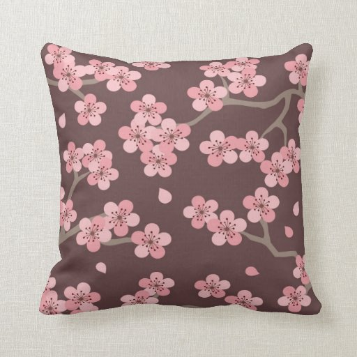 pink brown cherry blossom pillow zazzle. Black Bedroom Furniture Sets. Home Design Ideas