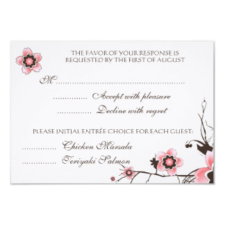 Pink & Brown Cherry Blossom  Response RSVP Card Personalized Invitation