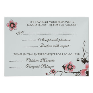 Pink & Brown Cherry Blossom  Response RSVP Card Personalized Invite