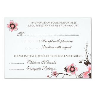 Pink & Brown Cherry Blossom  Response RSVP Card Custom Invitation