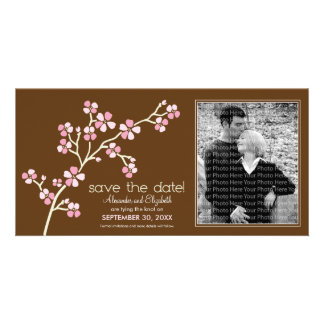 Pink/Brown Cherry Blossom Save the Date Photocard Photo Card
