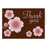 Pink & Brown Cherry Blossom Thank You Card