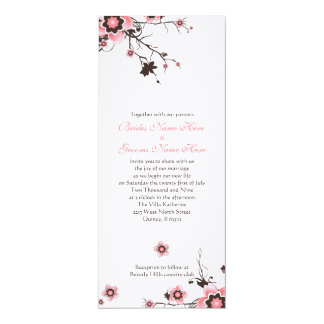 Pink & Brown Cherry Blossom Wedding Invite