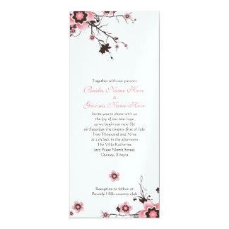 Pink & Brown Cherry Blossom Wedding Invite