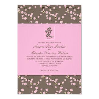 "Pink, Brown Cherry Blossoms Wedding Invitation 5"" X 7"" Invitation Card"