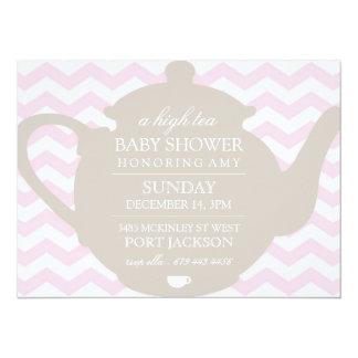 Pink & Brown Chevron High Tea Baby Shower Invite
