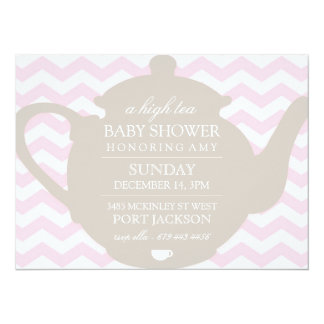 "Pink & Brown Chevron High Tea Baby Shower Invite 5.5"" X 7.5"" Invitation Card"