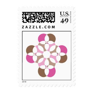 Pink & Brown Circle Postage Stamp