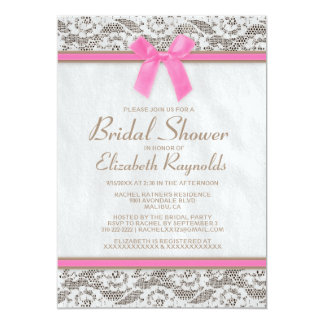 Pink Brown Country Lace Bridal Shower Invitations