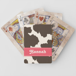 Pink Brown Cow Print Bicycle® Playing Cards