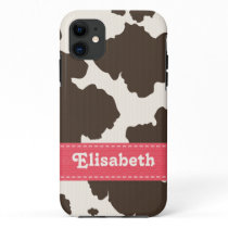 Pink Brown Cow Print iPhone 11 Case