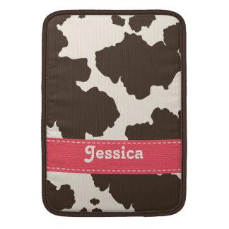 Pink Brown Cow Print Macbook Air Sleeve 13 and 11