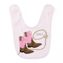 Pink & Brown Cowboy Boots & Rope, Personalized Bib