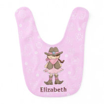 Pink & Brown Cowgirl Baby Girl Bib