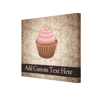 Pink Brown Cupcake Stretched Canvas Prints