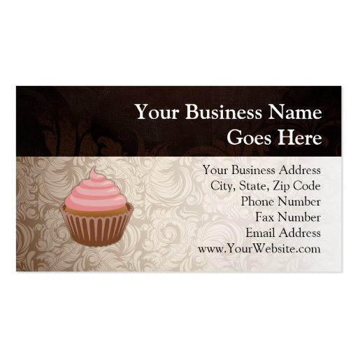 Pink/Brown Cupcake Double-Sided Standard Business Cards (Pack Of 100)