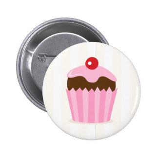 Pink brown cupcake girls birthday favor buttons