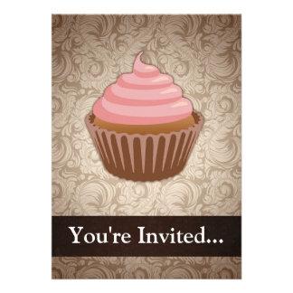 Pink Brown Cupcake Custom Invitation