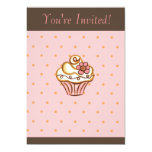 Pink Brown Cupcake Invitation