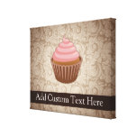 Pink/Brown Cupcake Stretched Canvas Prints