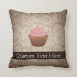 Pink/Brown Cupcake Throw Pillow