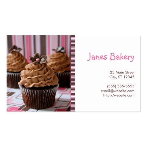 Pink & Brown Cupcakes Business Card Templates