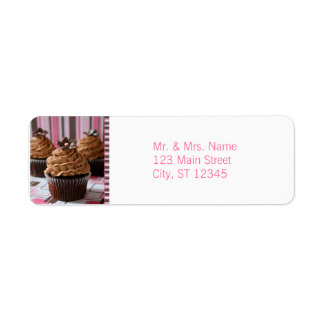 Pink & Brown Cupcakes Return Address Labels