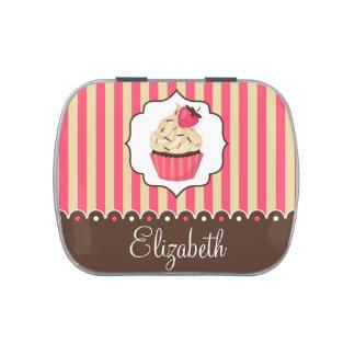 Pink & Brown Cute Cupcake With Custom Name Candy Tin