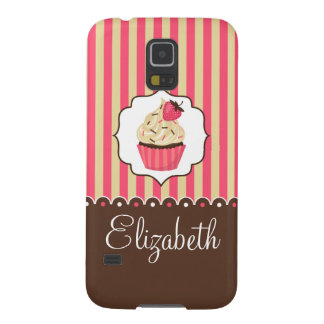 Pink & Brown Cute Cupcake With Custom Name Case For Galaxy S5