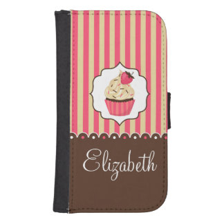 Pink & Brown Cute Cupcake With Custom Name Galaxy S4 Wallet Case