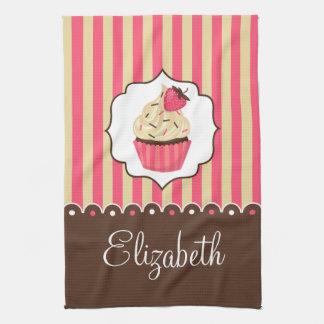Pink & Brown Cute Cupcake With Custom Name Hand Towels