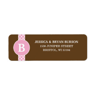 Pink/Brown Dainty Dots Custom Monogrammed Family Label