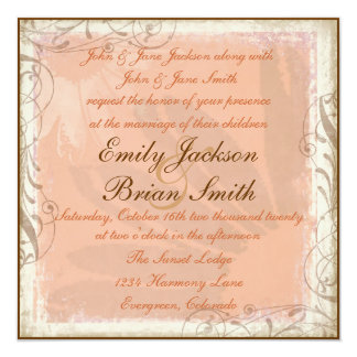 Pink brown daisy theme square wedding invitations