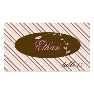 Pink / Brown damask Placecard Double-Sided Standard Business Cards (Pack Of 100)
