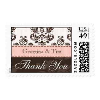Pink Brown Damask Wedding Thank You Postage Stamps