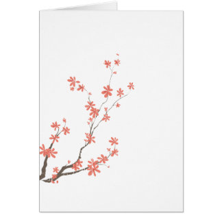 Pink brown dogwood branch left side card