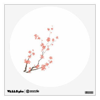 Pink brown dogwood branch left side wall decal