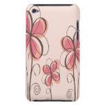 Pink & Brown Doodle Flowers Design Case-Mate iPod Touch Case